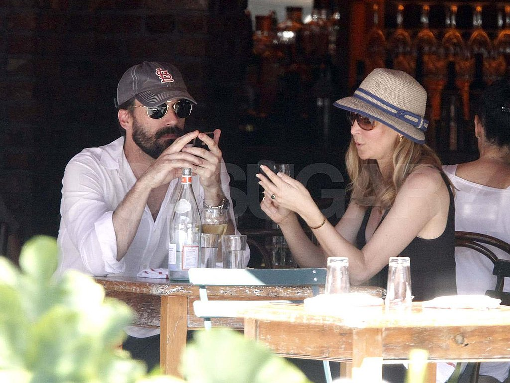 Jon Hamm and Jennifer Westfeldt at at Morandi Restaurant in NYC.