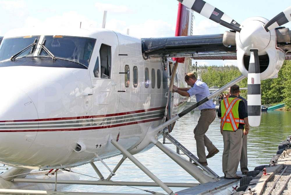 Prince William boards a seaplane in Canada.