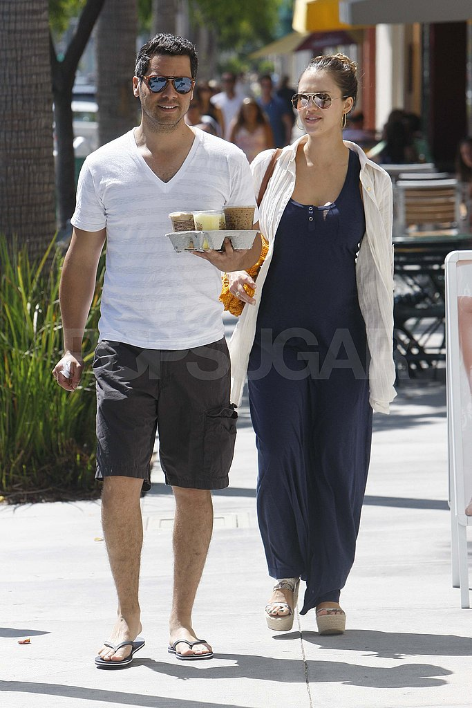 Jessica Alba and Cash Warren get coffee in Beverly Hills.