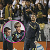 David Beckham Pictures Playing Soccer as Sons Brooklyn, Romeo, and Cruz Watch
