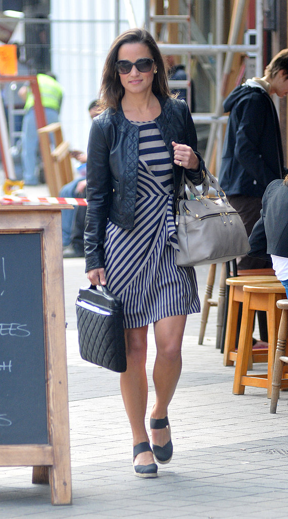 Pippa Middleton sports a stylish leather jacket for the solo outing.