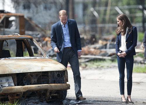 Kate Middleton and Prince William visit fire-damaged Slave Lake.