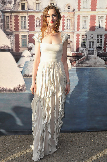 Anne Hathaway wore white to the White Fairy Tale Love Ball.