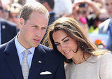 William trades his usual red and blue ties for a lighter one that complements the color of Kate's dress.