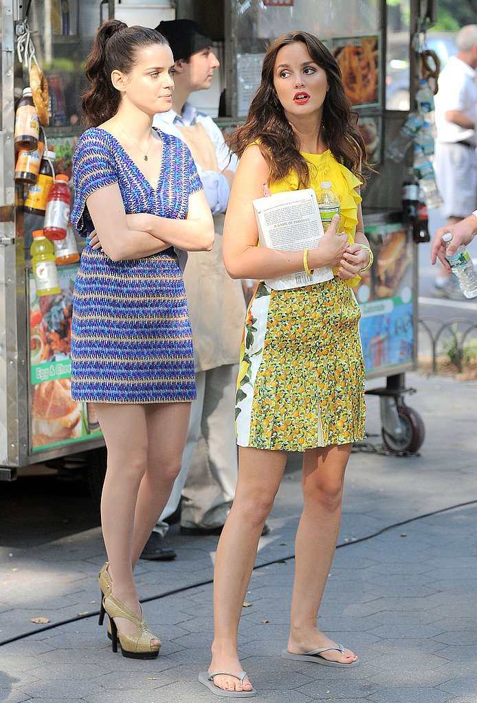 Leighton Meester wore flip-flops in between takes.