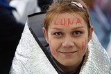 A face-painted fan is bundled up at the Harry Potter and the Deathly Hallows Part 2 premiere.
