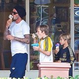 David Beckham took Brooklyn and Romeo out for ice cream in Malibu.