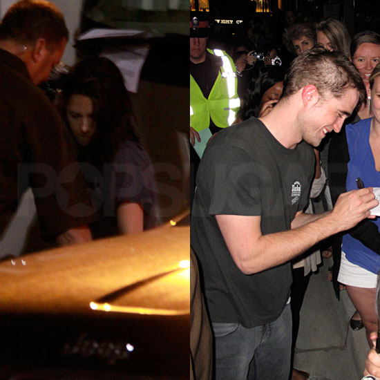 Kristen Stewart Visits Robert Pattinson and His Half a Haircut on Cosmopolis Set