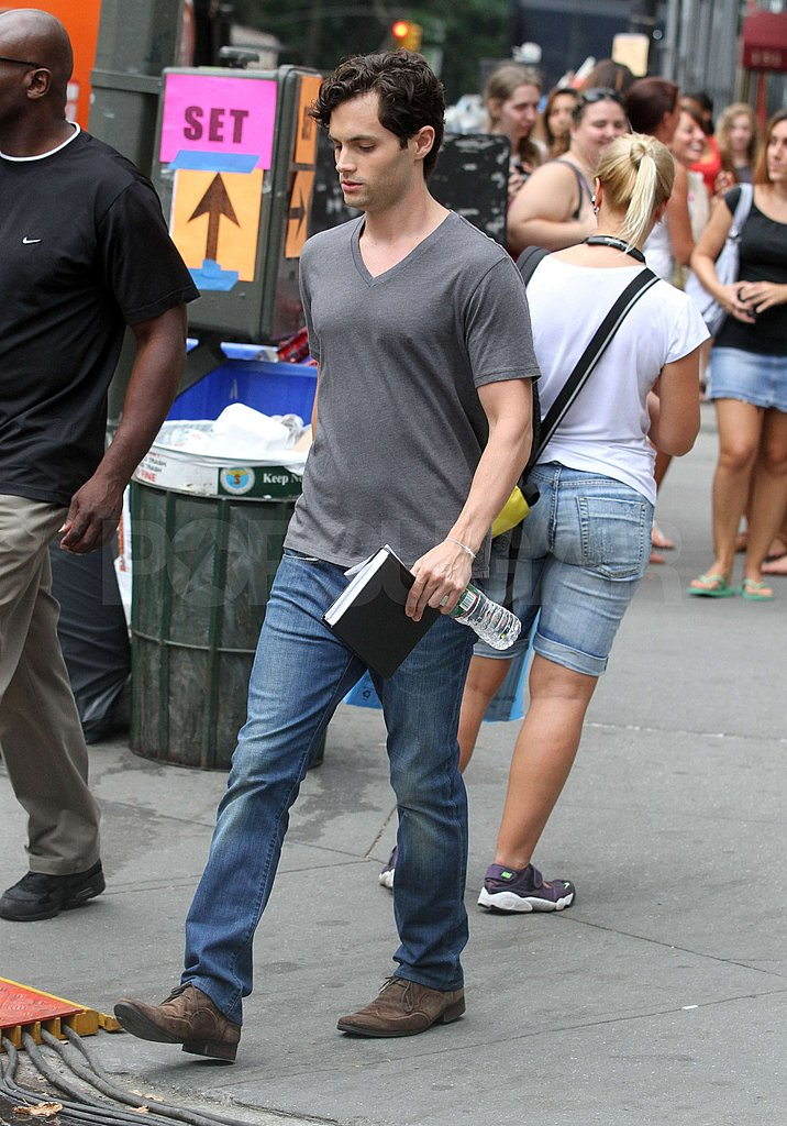 Penn Badgley toted water to the set.