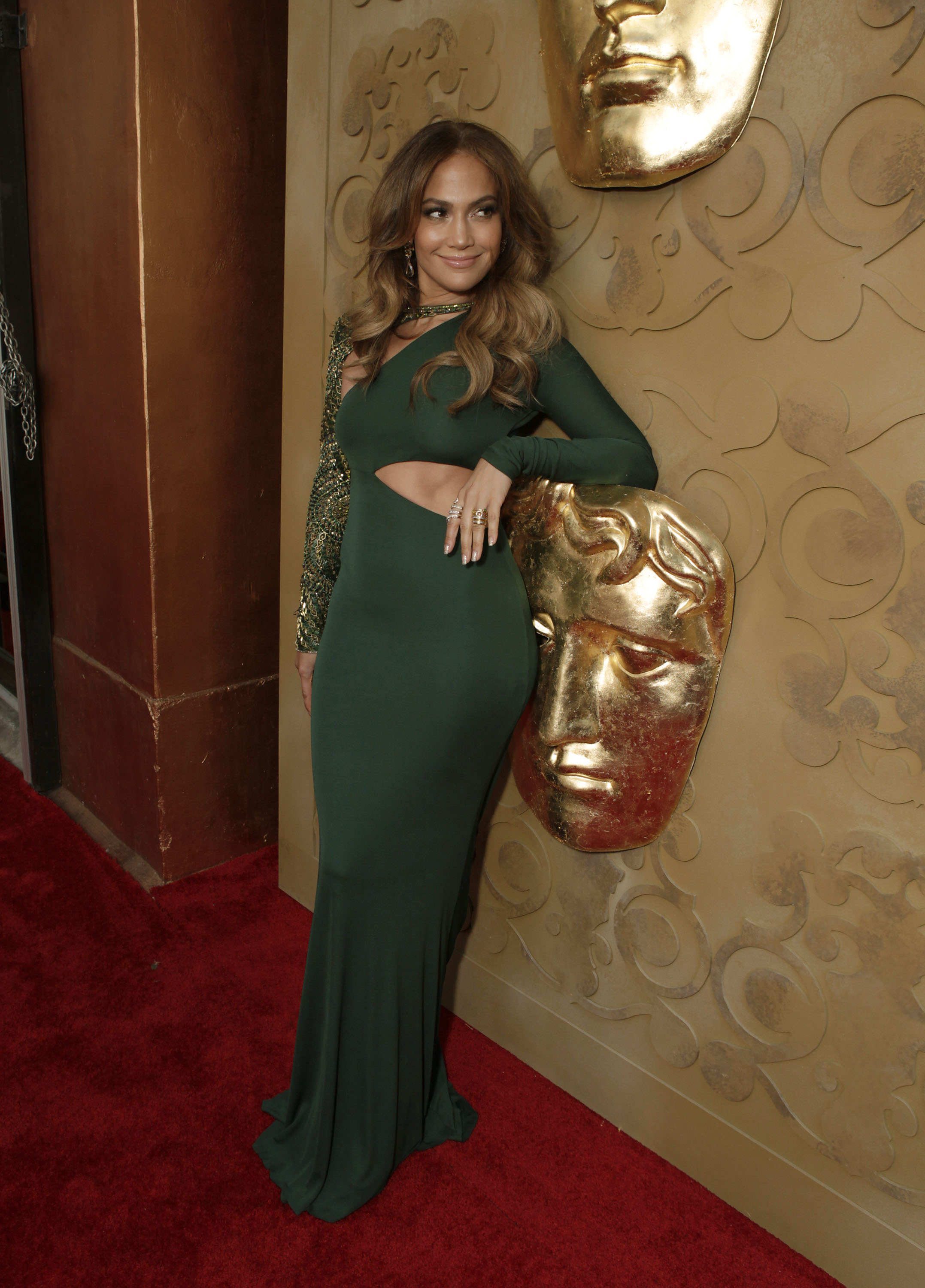Jennifer Lopez in green at the BAFTA Brits to Watch event in LA.