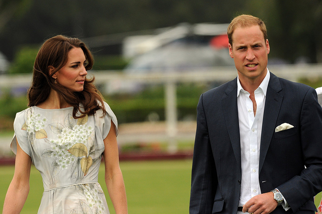 Kate Middleton and Prince William arrived via helicopter.