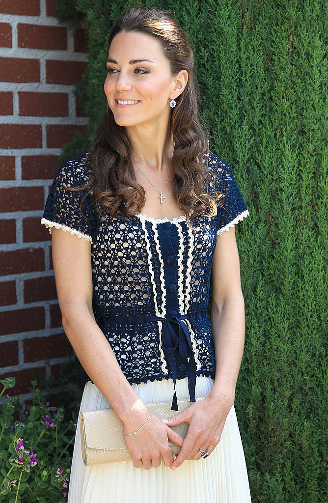 July 10th, 2011 Attending a reception in Santa Barbara, California.   Kate wore a navy crochet top from Whistles and a Whistles Lina Dobby pleated skirt.
