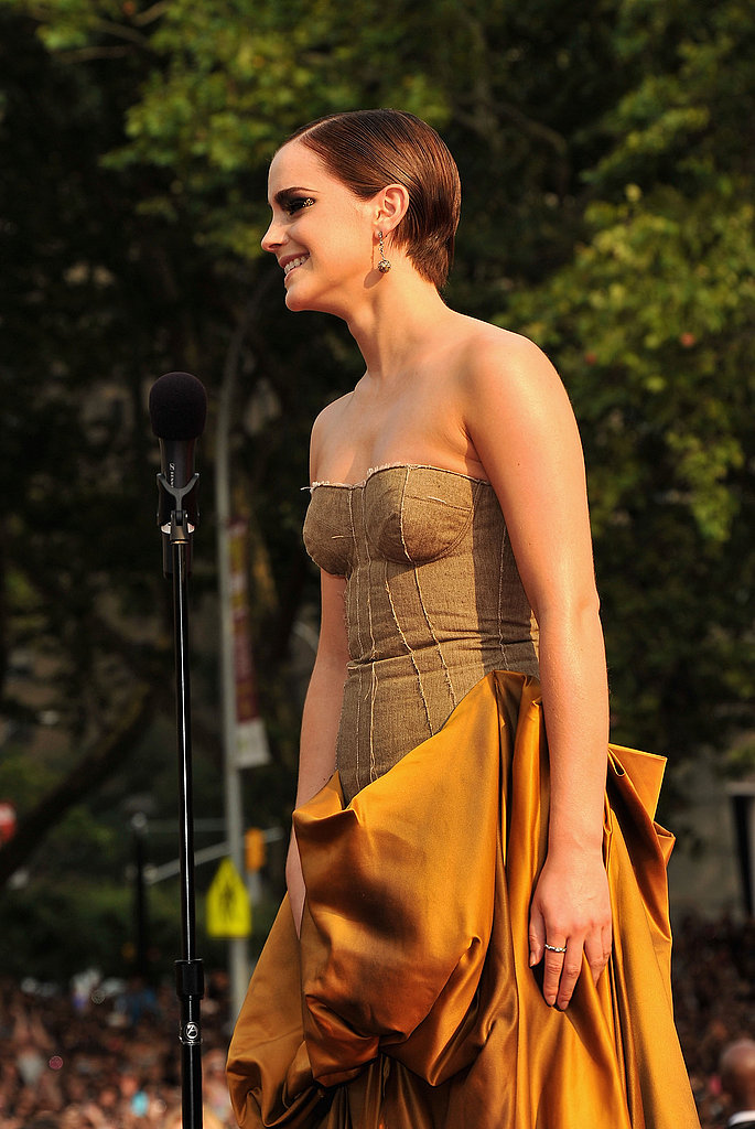 Emma Watson in Bottega Veneta at the Harry Potter and the Deathly Hallows Part 2 premiere in NYC.