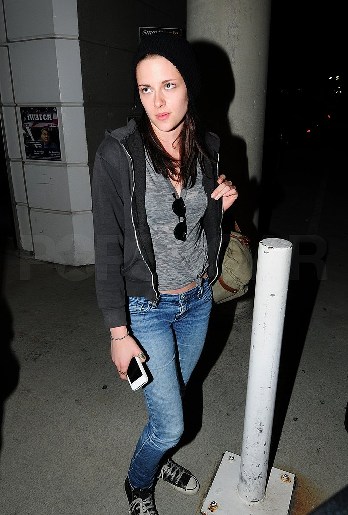 Kristen Stewart in jeans and a tee-shirt.