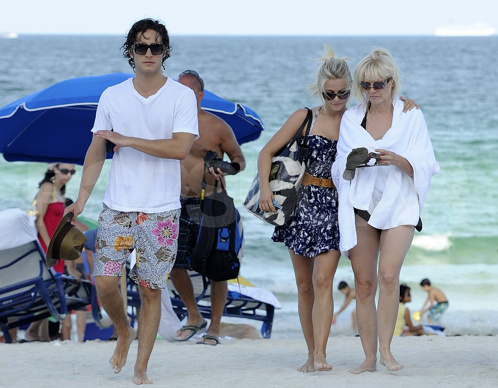 Julianne Hough with her mom Marianne and Rock of Ages costar Diego Boneta.