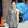 Emma Watson Arriving at The Late Show Wearing Prada