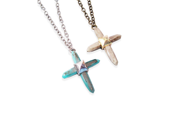 Resin Crystal Cross Necklace in Turquoise Resin with Antique Silver Stud and Bone Resin with Antique Bronze Stud