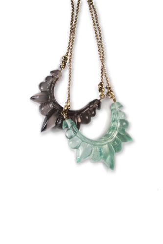Medium Resin Tribal Spike Necklace in Smoke and Turquoise Resin