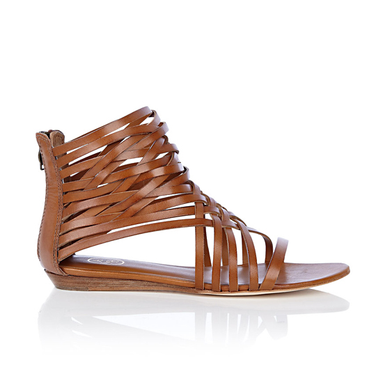 Ash Brown Medi Flat Caged Sandal, $132