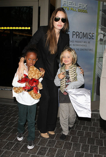 Angelina Jolie Touches Down in LA With a Smile and Big Girls Zahara and Shiloh