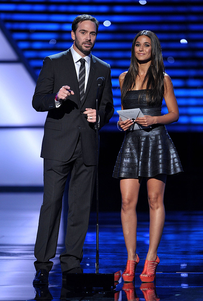 NASCAR driver Jimmie Johnson and Entourage star Emmanuelle Chriqui presented an award together.
