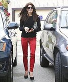 Ashley Greene wore sexy red jeans to a meeting in LA.