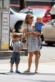 Sheryl Crow with her sons, Wyatt and Levi, in NYC.