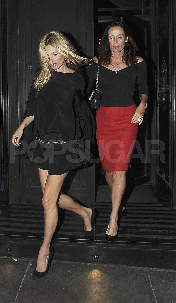 Kate Moss with a friend in London.