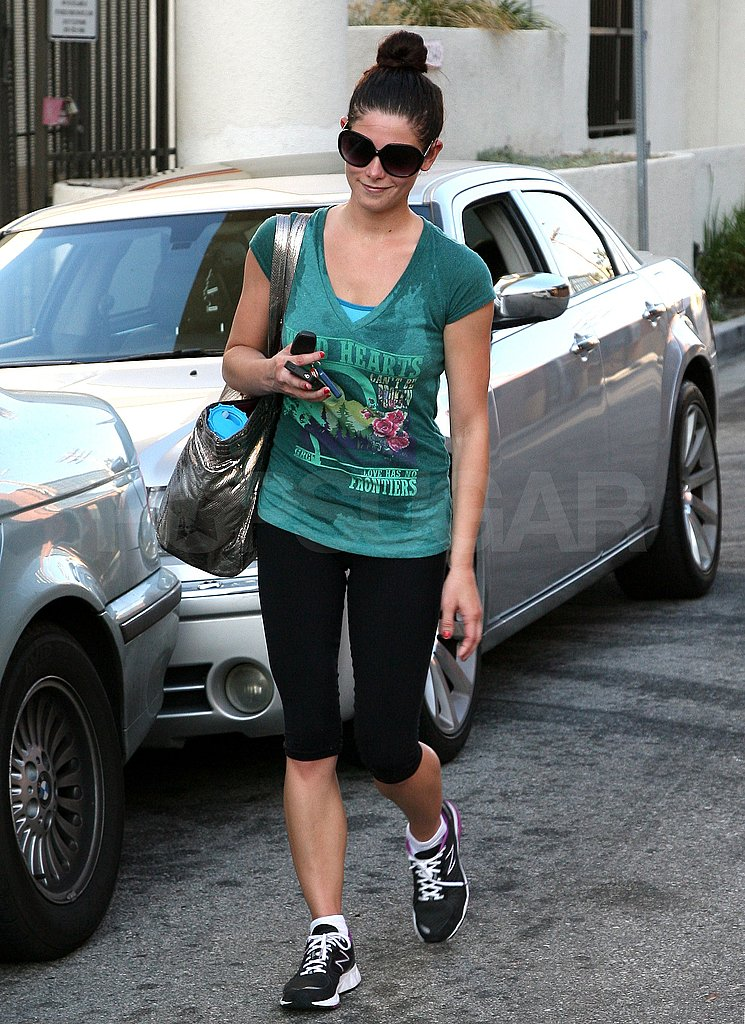Ashley Greene pulled her hair back leaving the gym in LA.
