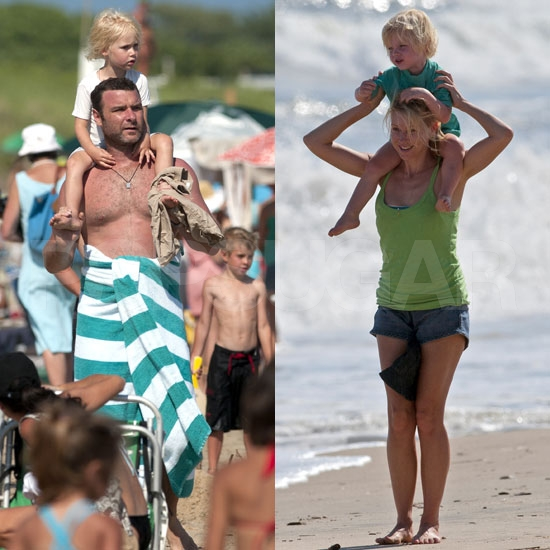 Naomi Watts Has a Hamptons Beach Day With Sasha, Samuel, and Shirtless Liev