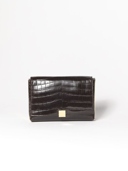 Metal Frame Alligator Clutch in Brown