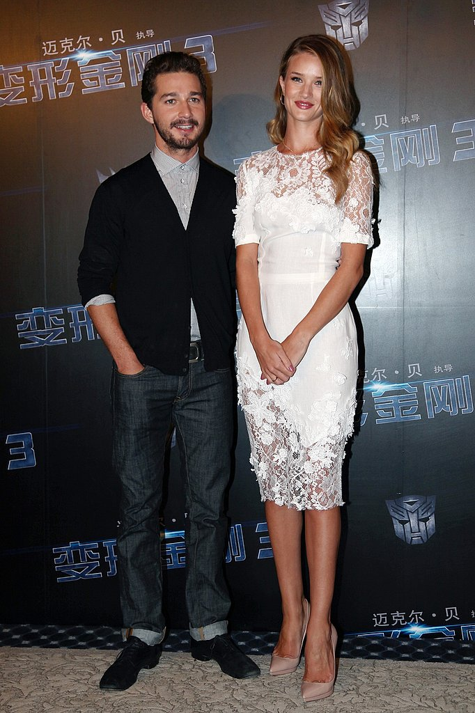Shia LaBeouf and Rosie Huntington-Whiteley in China for Transformers: Dark of the Moon.