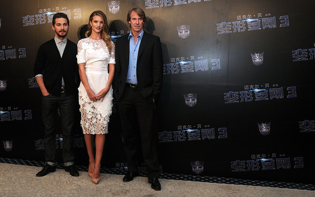 Shia LaBeouf, Rosie Huntington-Whiteley, and Michael Bay in China for Transformers: Dark of the Moon.