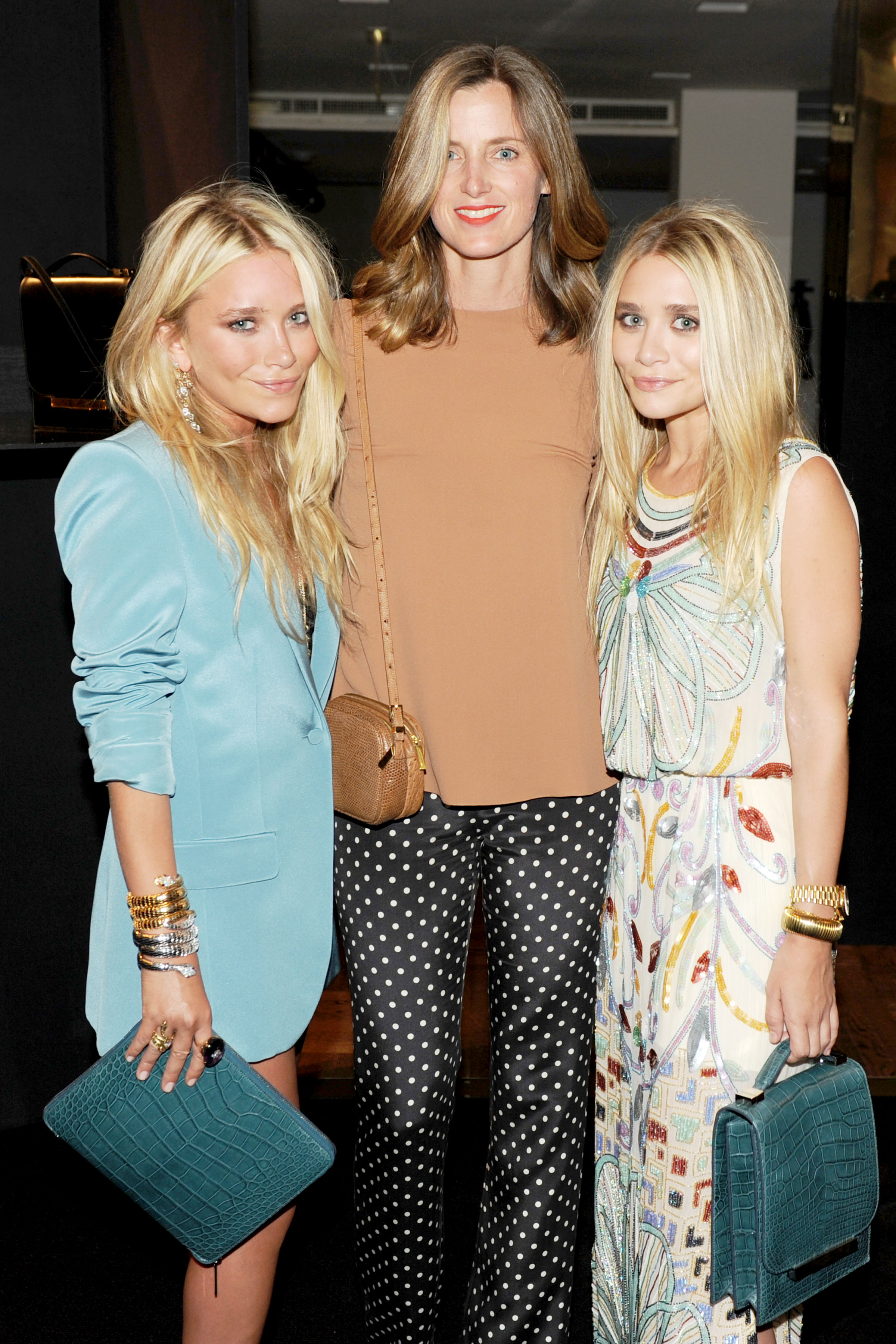 Mary-Kate Olsen and Ashley Olsen with Barneys Women's Fashion Director Amanda Brooks.