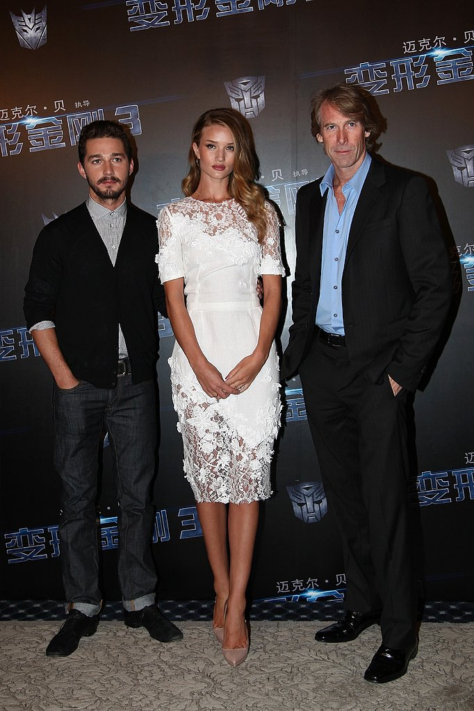 Shia LaBeouf and Rosie Huntington-Whiteley with Michael Bay in China for Transformers: Dark of the Moon.