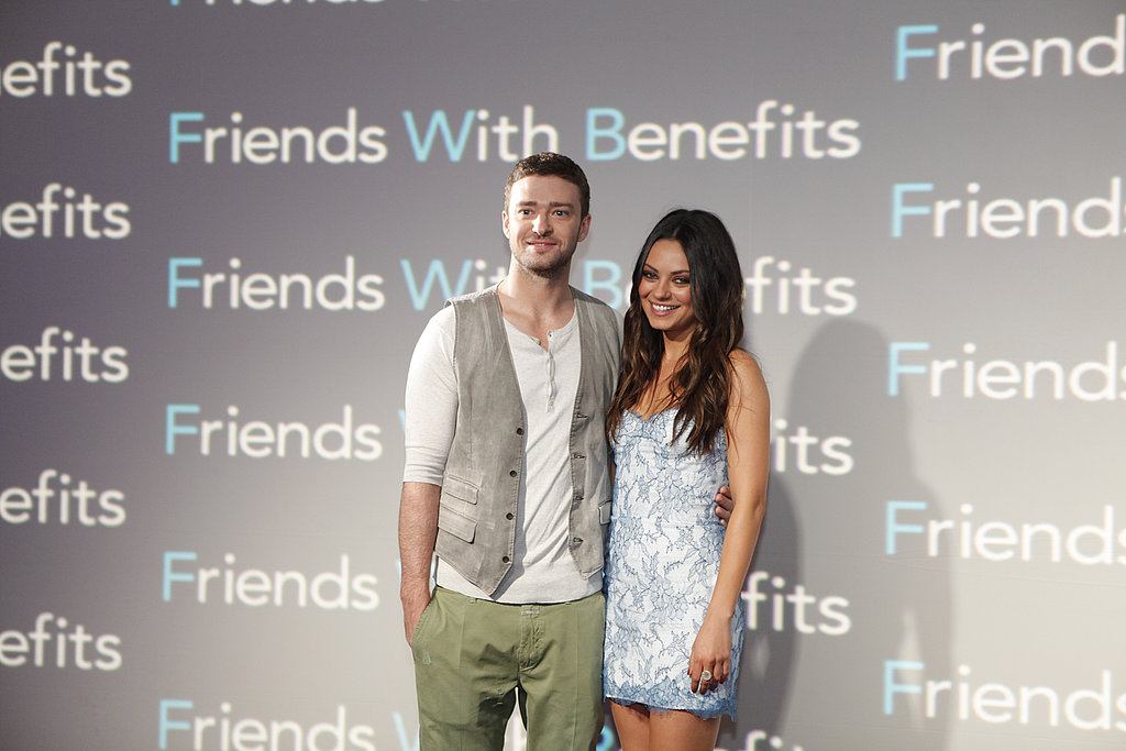 Justin Timberlake and Mila Kunis stood together for a photo at the press event.