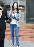 Courteney Cox flashed a smile outside the restaurant.