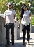 Shia LaBeouf and Karolyn Pho walked his dog.