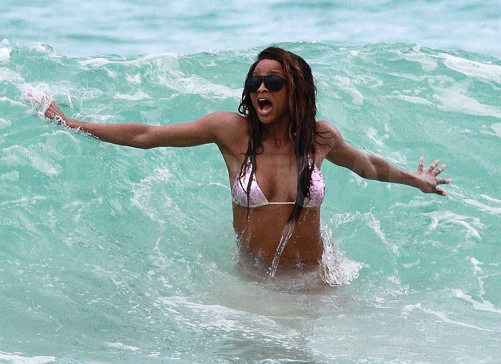 Ciara splashed in the waves.