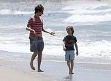 Matthew Bellamy and Ryder Robinson on the beach in Malibu.