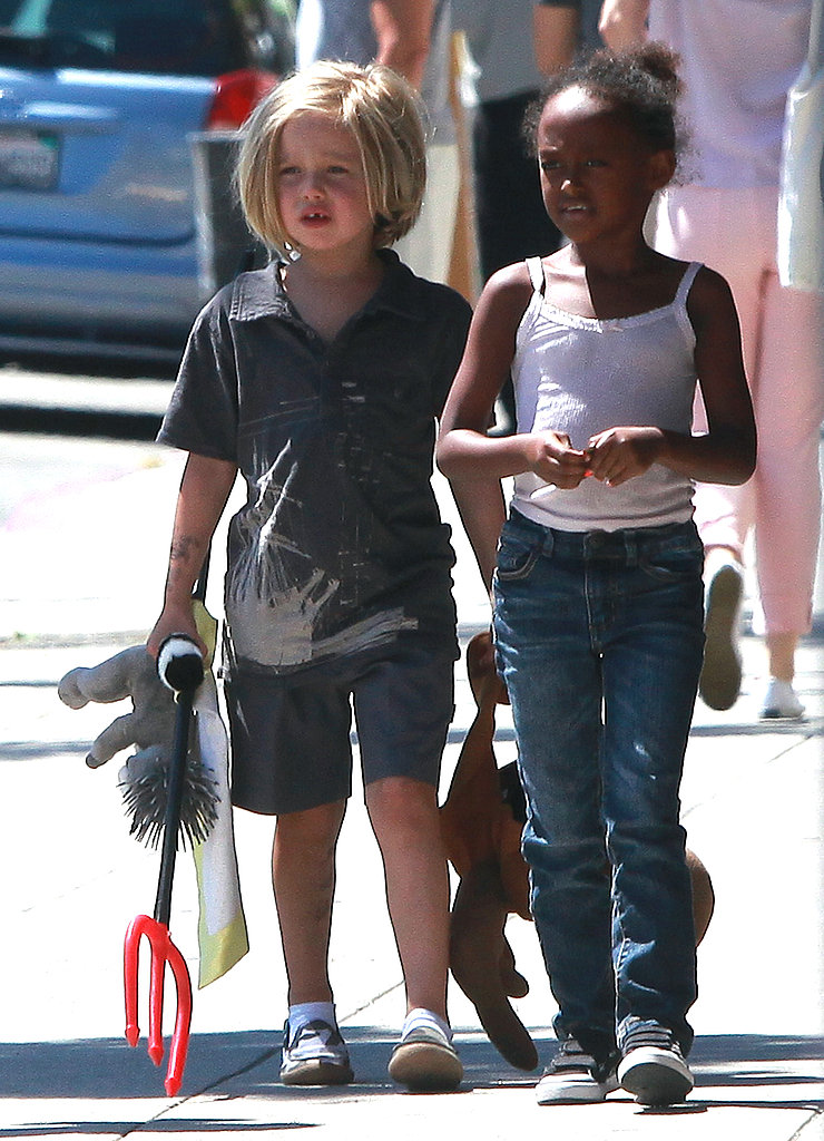 Shiloh Jolie-Pitt and Zahara Jolie-Pitt at Ozzie Dots.