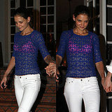Katie Holmes Wears White Jeans in Miami
