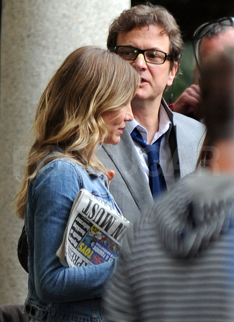 Cameron Diaz and Colin Firth shooting Gambit.