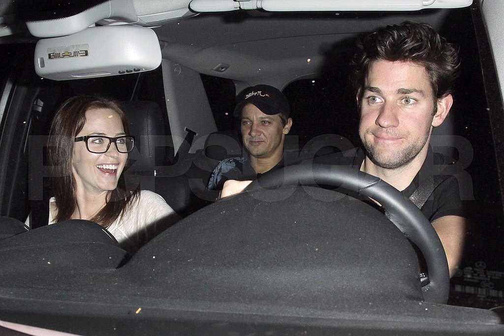 Emily Blunt and John Krasinski with Jeremy Renner at the Chateau Marmont in LA.