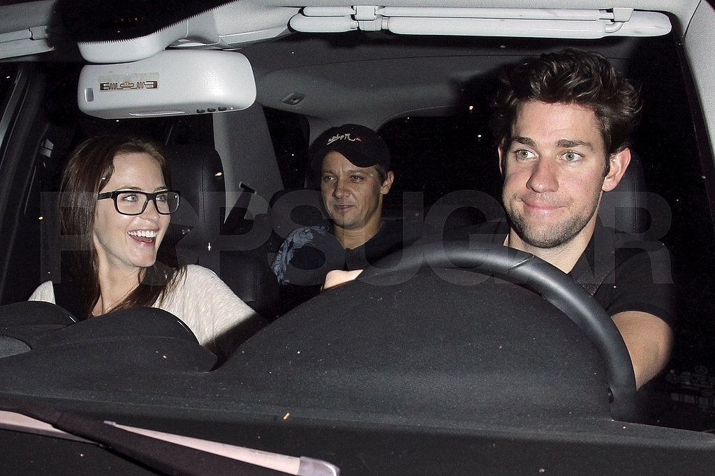 Jeremy Renner, Emily Blunt, and John Krasinski leaving the Chateau Marmont.