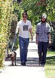 Robert Pattinson and Best Bud Tom Sturridge Take Bear, the Dog, on a Walk!