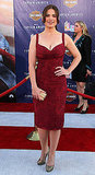 Hayley Atwell showed off her curves in a red dress.