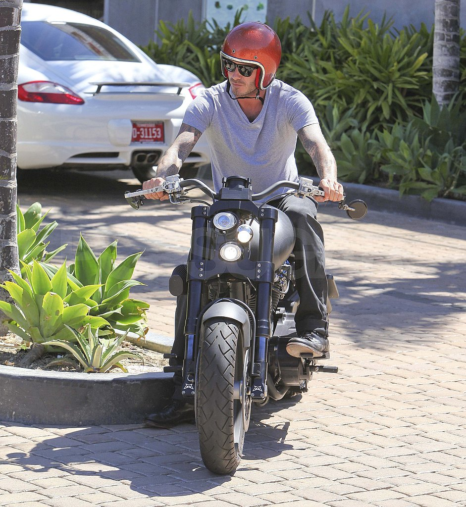 David Beckham rode his motorcycle around LA.