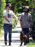Robert Pattinson and Tom Sturridge with Bear the dog.