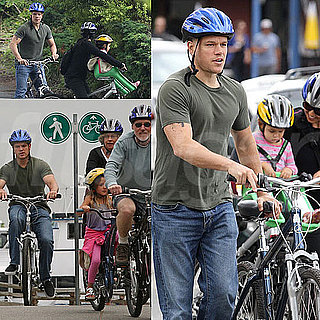 Matt Damon Bike Riding With His Family Pictures